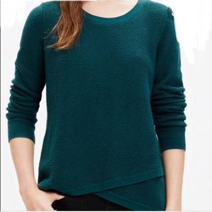Madewell Green Faux Wrap Waffle Sweater XS